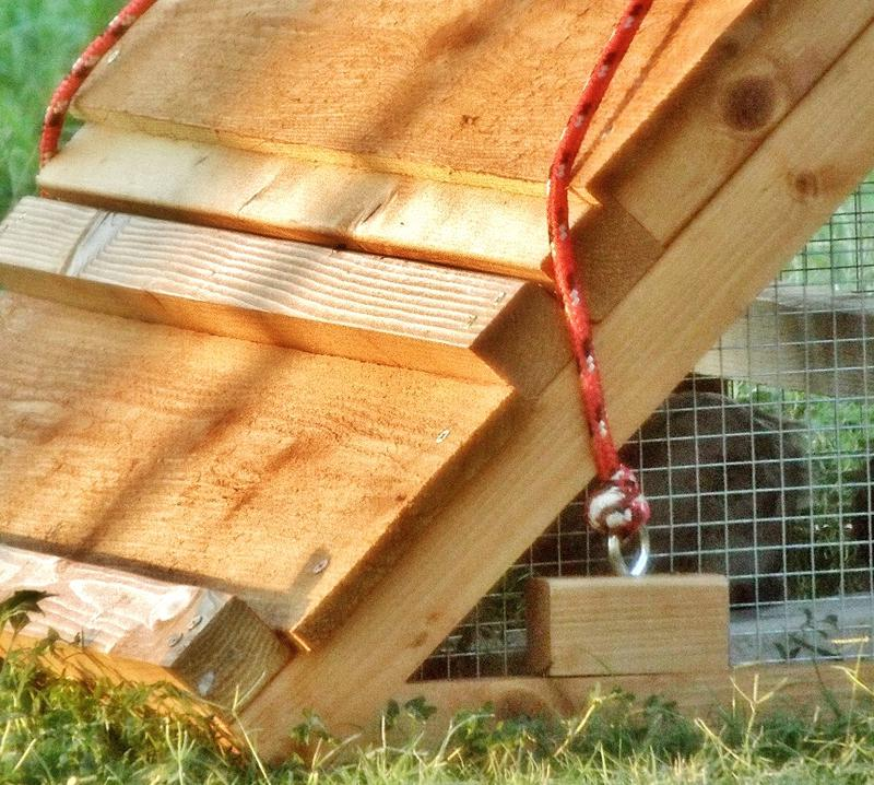 a portable chicken coop with tow rope