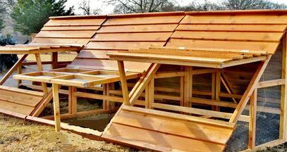 mobile chicken coop in winter 2